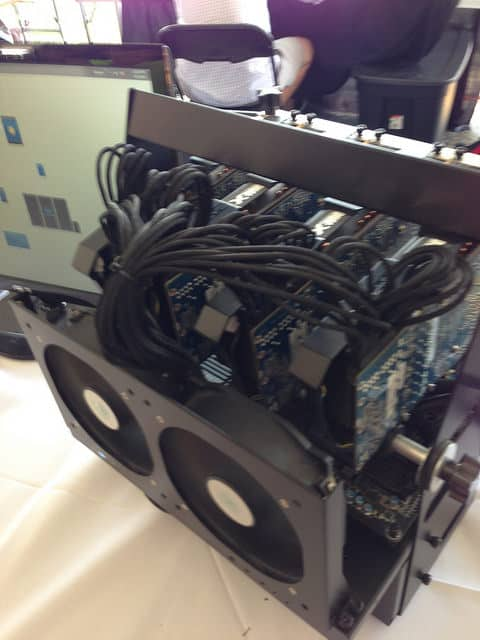 A DIY Bitcoin mining rig, by Paul Anderson.